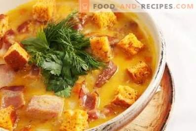 Zuppa di carne affumicata di piselli