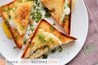 Broodjes met een ei in een pan
